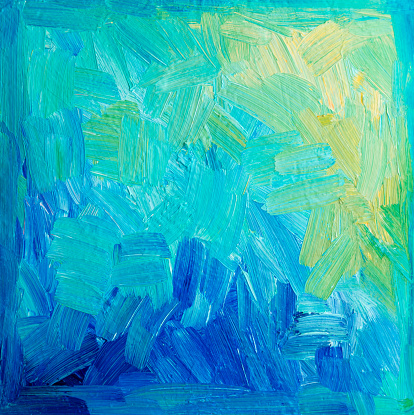 acrylic painted canvas in blue, green, yellow with vignette, brush strokes, no people with copyspace
