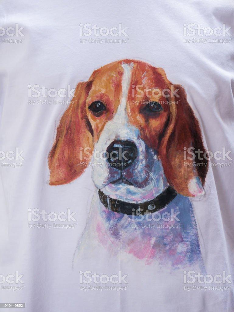 Photo Libre De Droit De Peinture Acrylique De Beagle Sur Tissu
