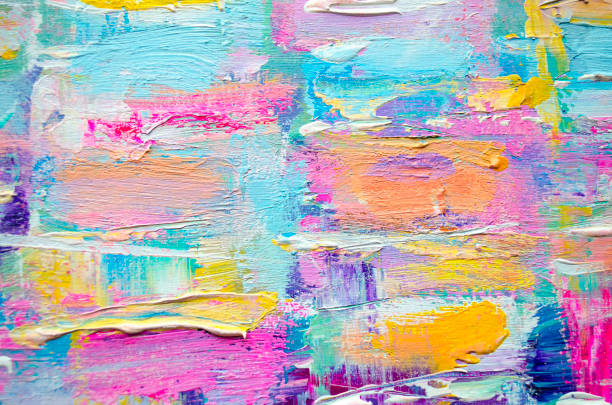 acrylic painting on canvas. color texture. - paint texture stock pictures, royalty-free photos & images