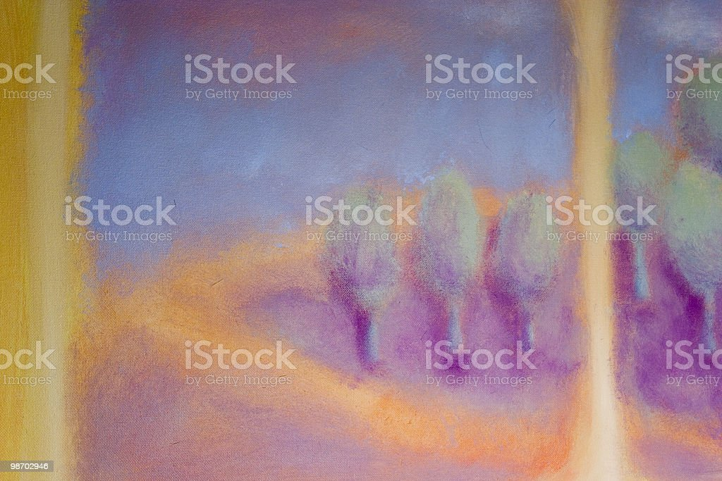 Acrylic painting: soft, fuzzy mountain & forest study, pastels royalty-free stock photo