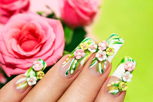 acryl rosen. - nageldesign trend stock-fotos und bilder