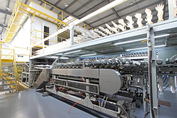acrylonitrile butadiene Handschuhe Produktion in einer Fabrik, noch – Foto