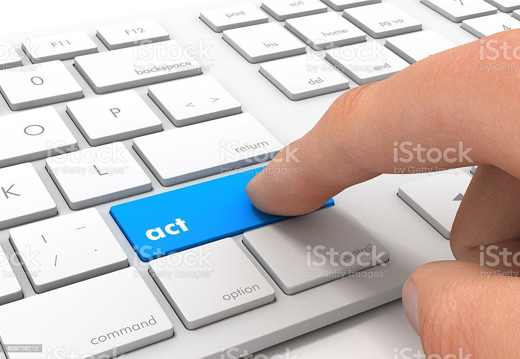act keyboard concept illustration stock photo
