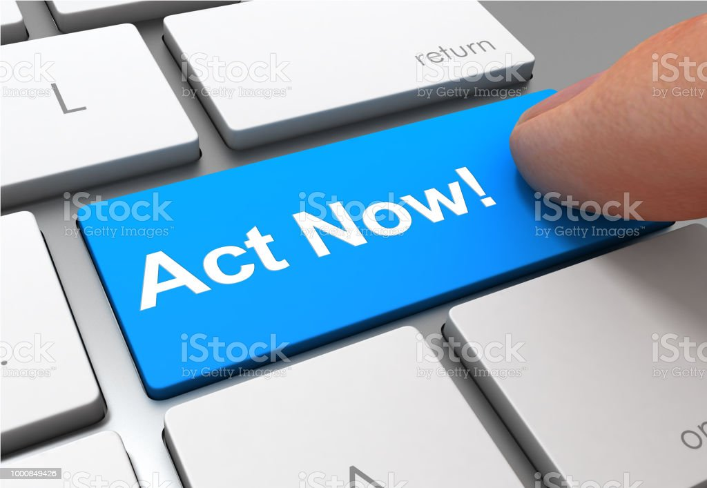 act now button concept 3d illustration stock photo