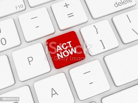 istock Act now button keyboard 880905976