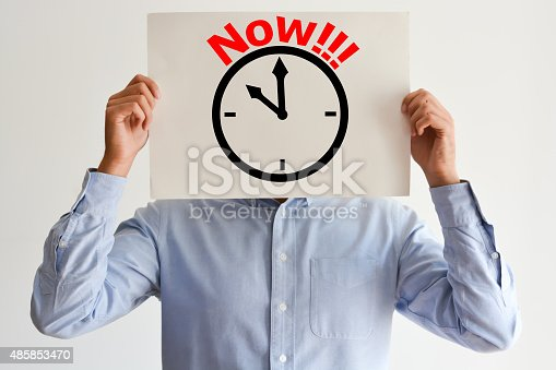 487354658 istock photo Act Now or deadline concept with stressed employee or businessman 485853470