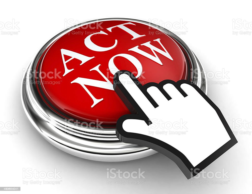 act now red button and pointer hand stock photo