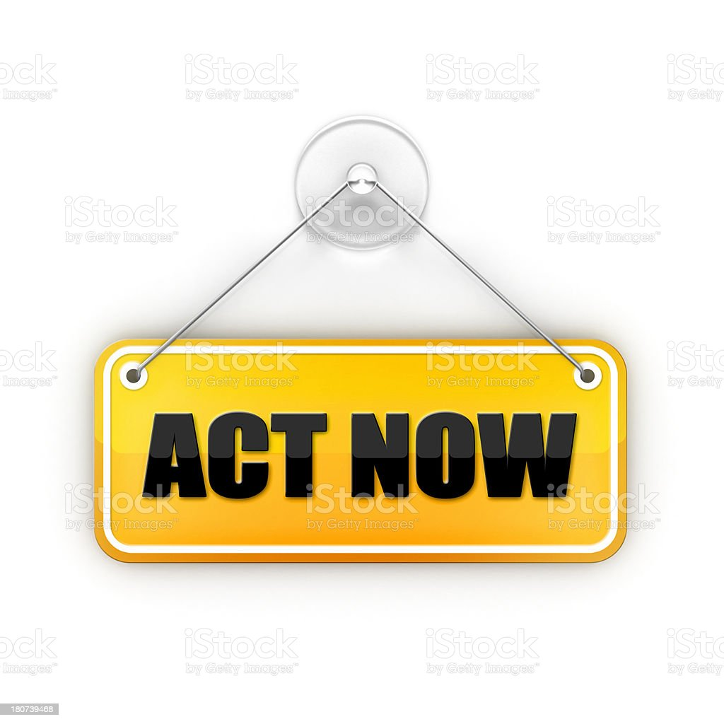 act now Sticky red sign stock photo