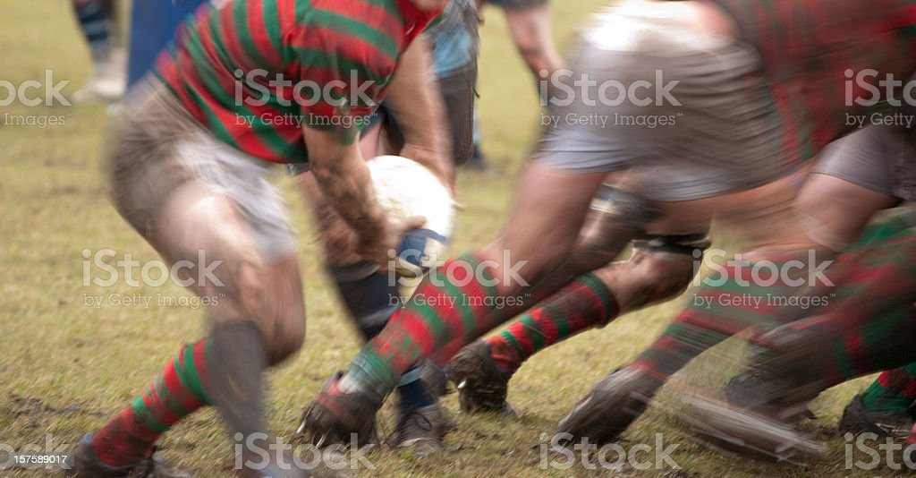Action at the back of a scrum stock photo
