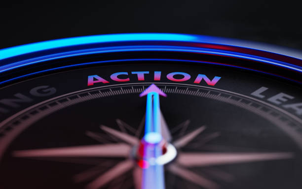 Action Concept: Arrow of A Compass Pointing Action Text stock photo