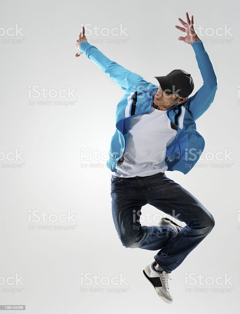 action dancer jump stock photo