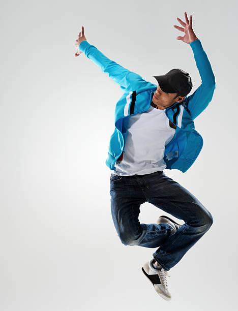 action dancer jump stock photo