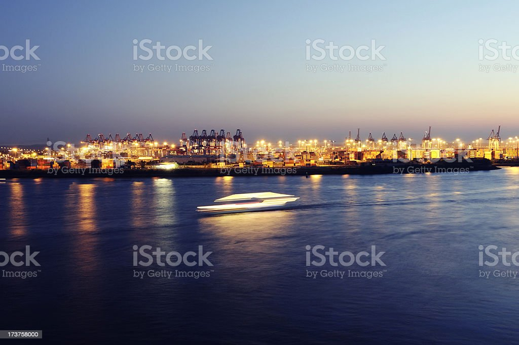 action ferry and port hamburg nights royalty-free stock photo