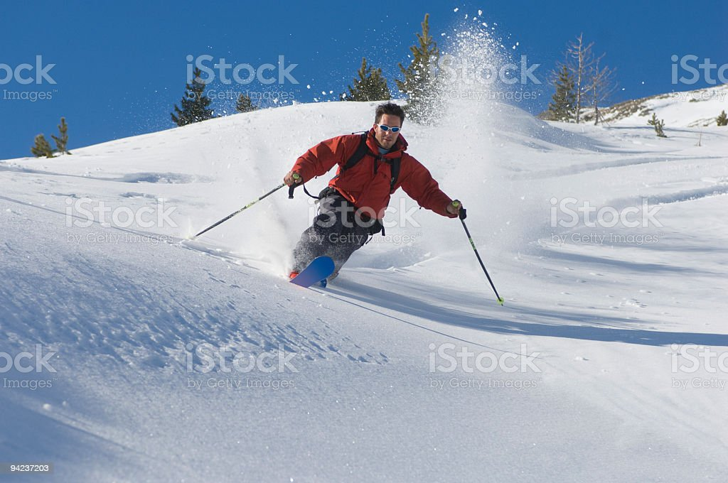 Action in powder snow royalty-free stock photo