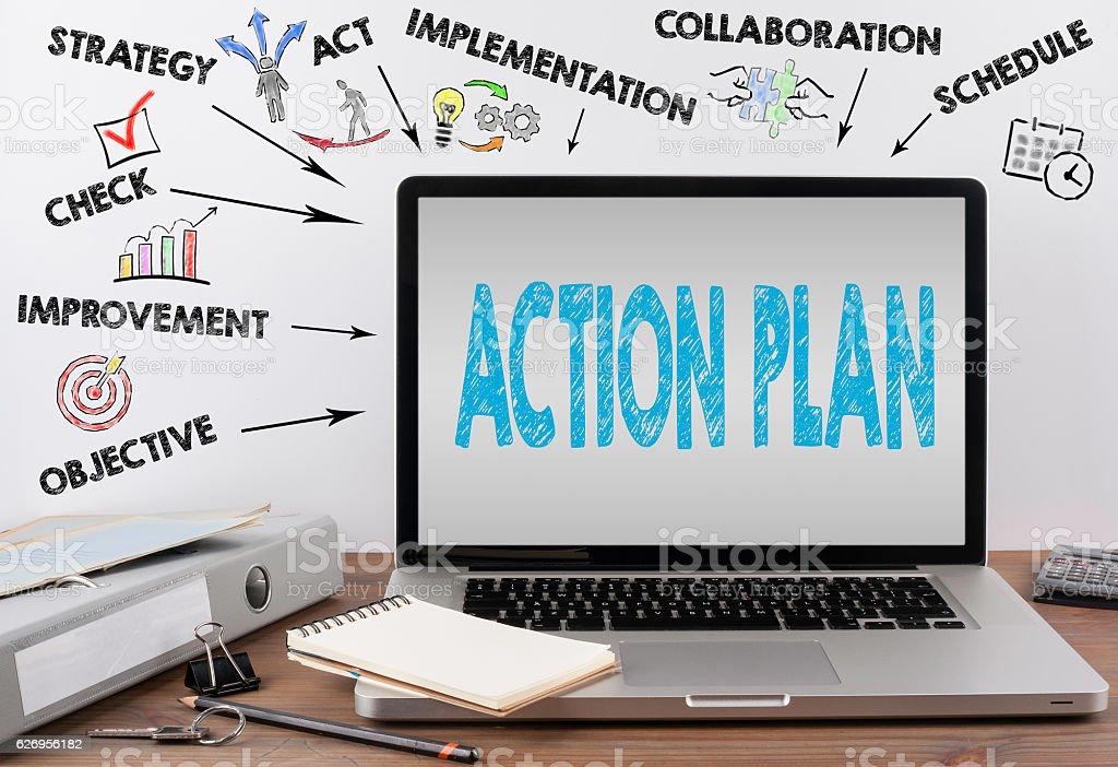 Action Plan concept. Office desk with a laptop – Foto