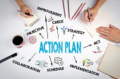 istock Action Plan Concept. The meeting at the white office table 626956870
