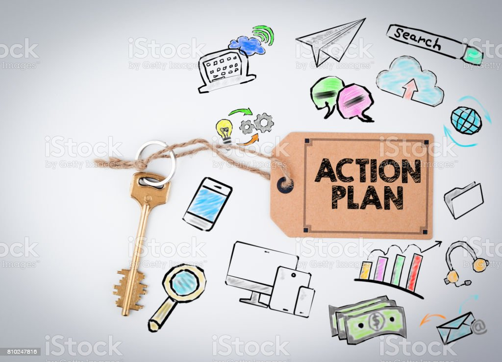 Action Plan. Key on a white background stock photo