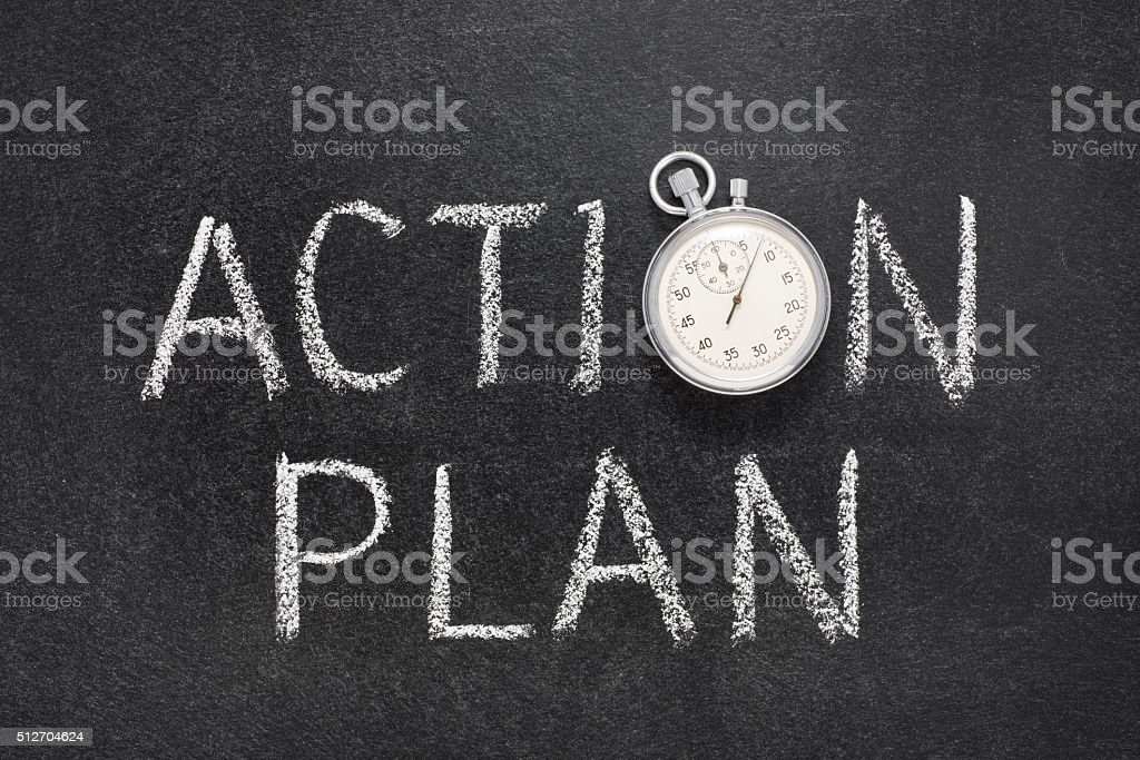action plan watch stock photo
