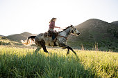 Action portrait of woman riding her horse early morning sunlight flares lens as it rises over mountains in the background.