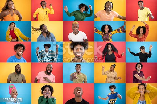 istock Action portraits of diverse black people smiling 1272432175