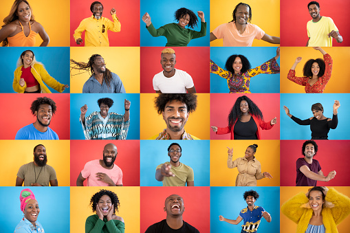 Composite image of many candid actions portraits of large group of black ethnic people dancing, laughing and having fun.