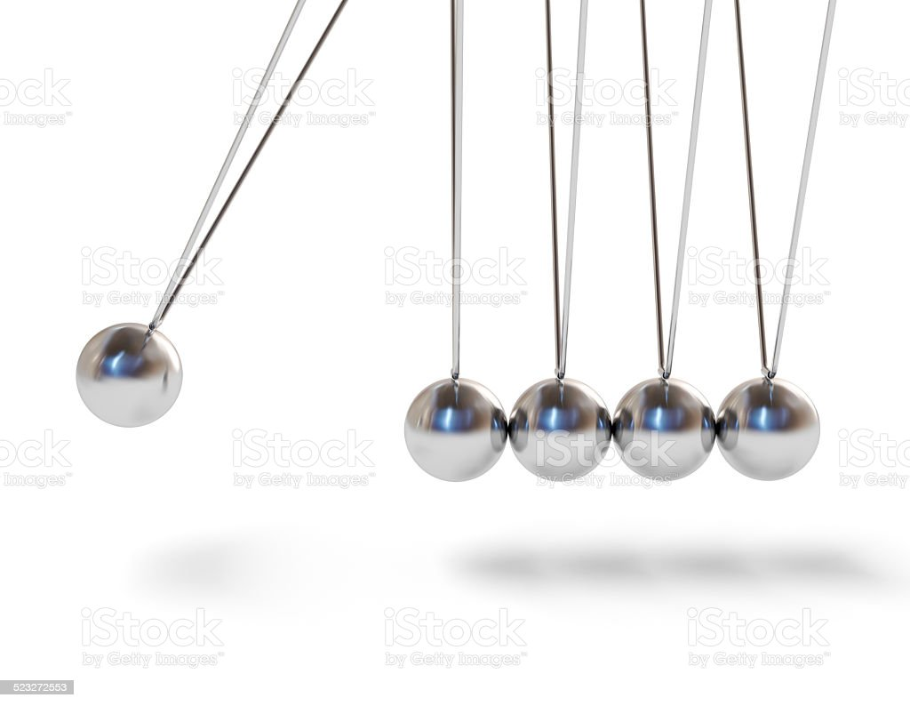 Action sequrence concept Newton's cradle executive stock photo