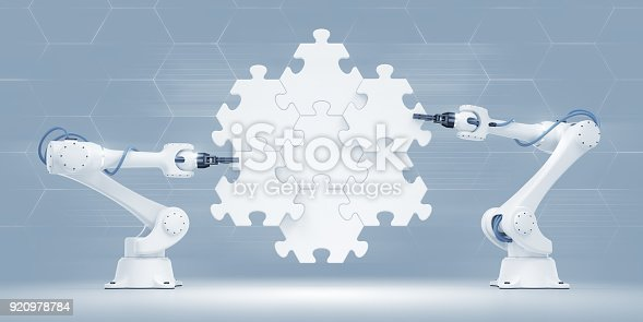 istock Action Show Of Robotic Manipulators 920978784