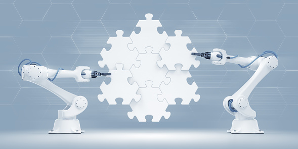 istock Action Show Of Robotic Manipulators 920978784