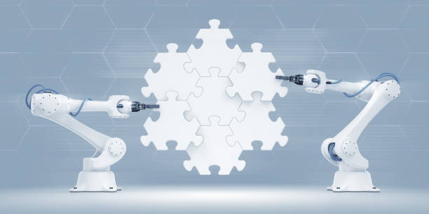 Action Show Of Robotic Manipulators stock photo