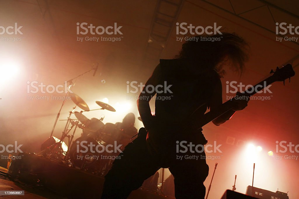 Action silhouettes on stage stock photo