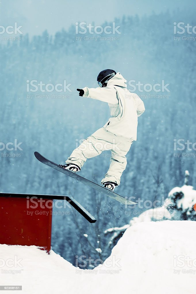 Action Sports - 360 to Rail Slide stock photo