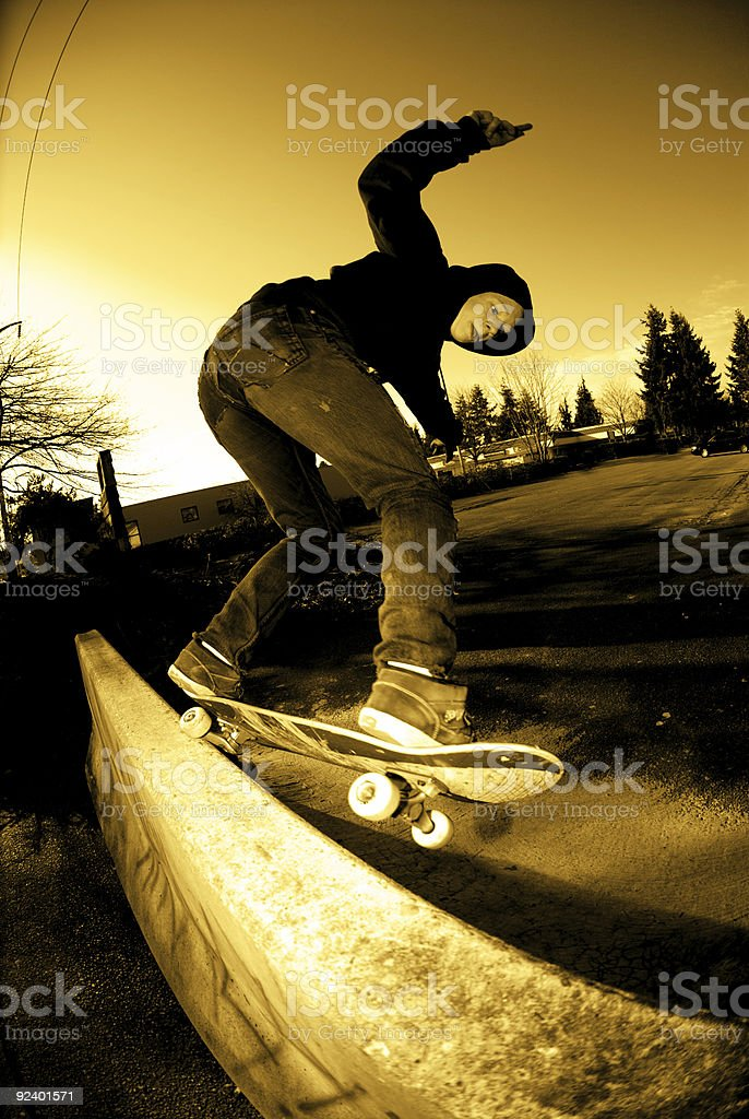 Action Sports - Backside 5-0 on Jersey Barrier royalty-free stock photo
