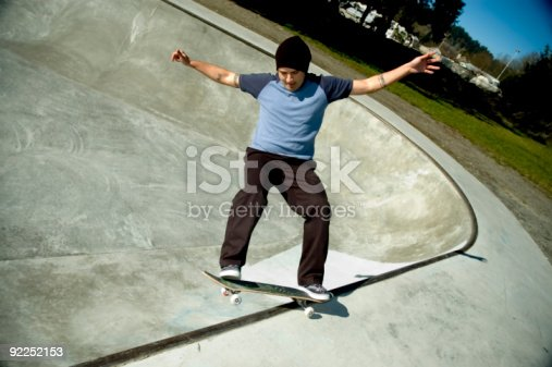92451800 istock photo Action Sports - Carnation FS Smith Grind 92252153