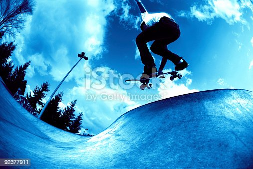 92451800 istock photo Action Sports - Cool Blue Concrete Wave 92377911
