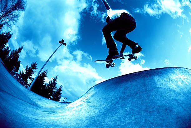 Action Sports - Cool Blue Concrete Wave stock photo