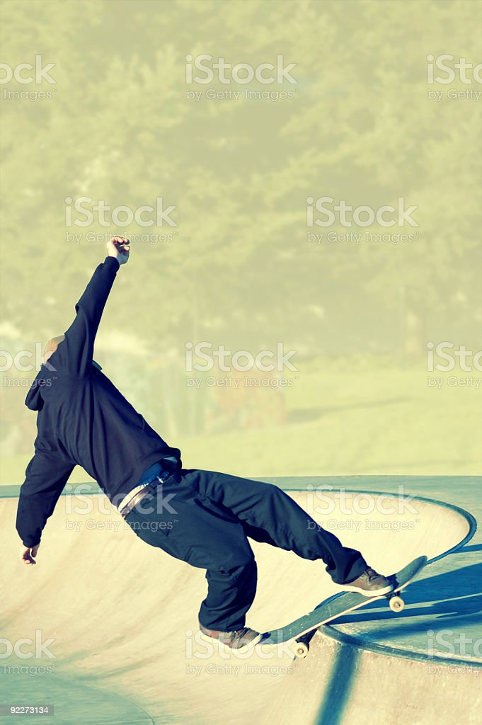 Action Sports - Frontside Rock Room for Text stock photo