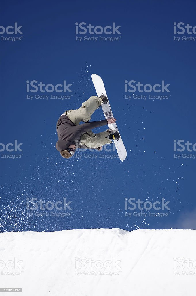 Action Sports - Halfpipe Invert Fronside Grab royalty-free stock photo