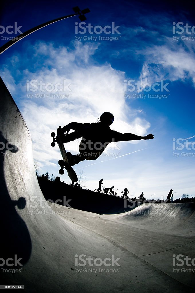 Action Sports - Skate Silhouette royalty-free stock photo