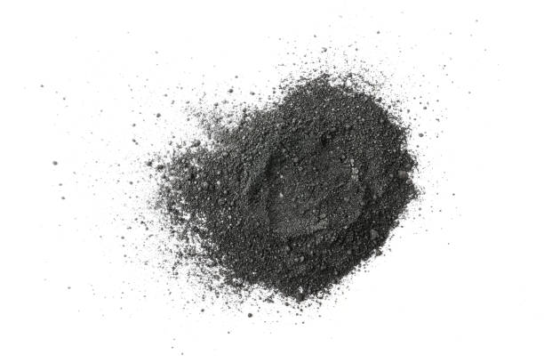 Activated charcoal powder on white background stock photo