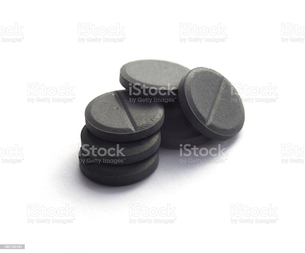 activated coal isolated on white stock photo