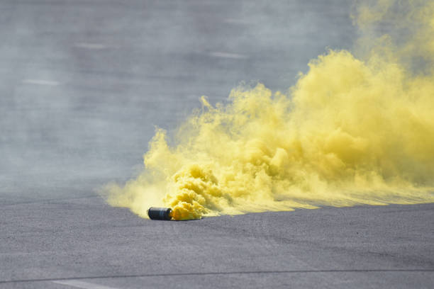 (Editorial) Activated smoke bomb stock photo
