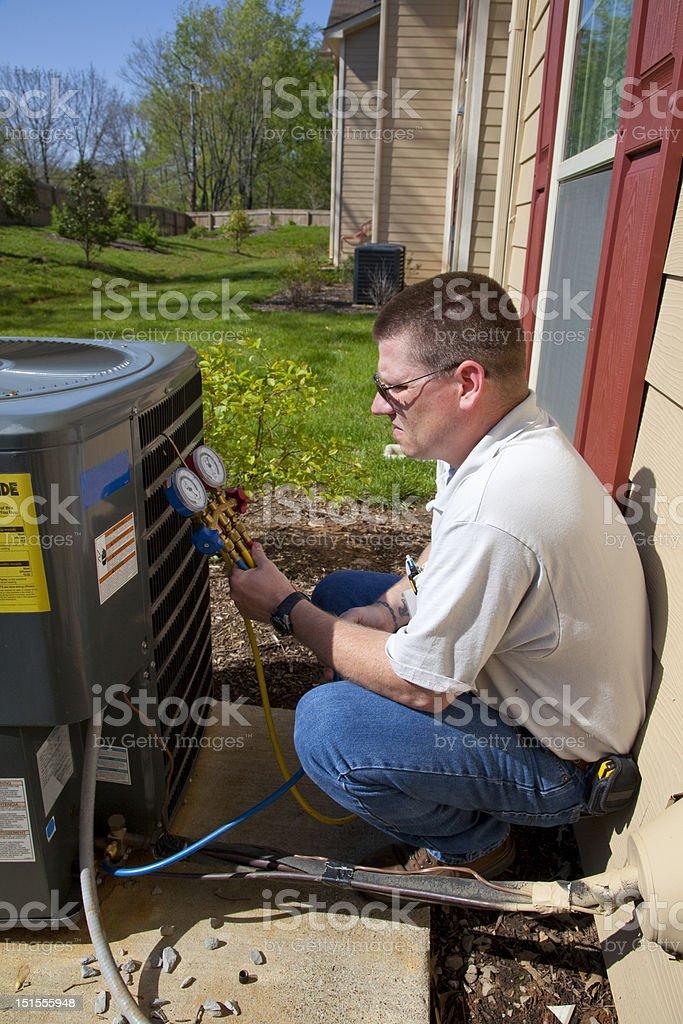 Active A/C Repair Tech stock photo