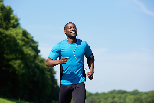 Active african american man running