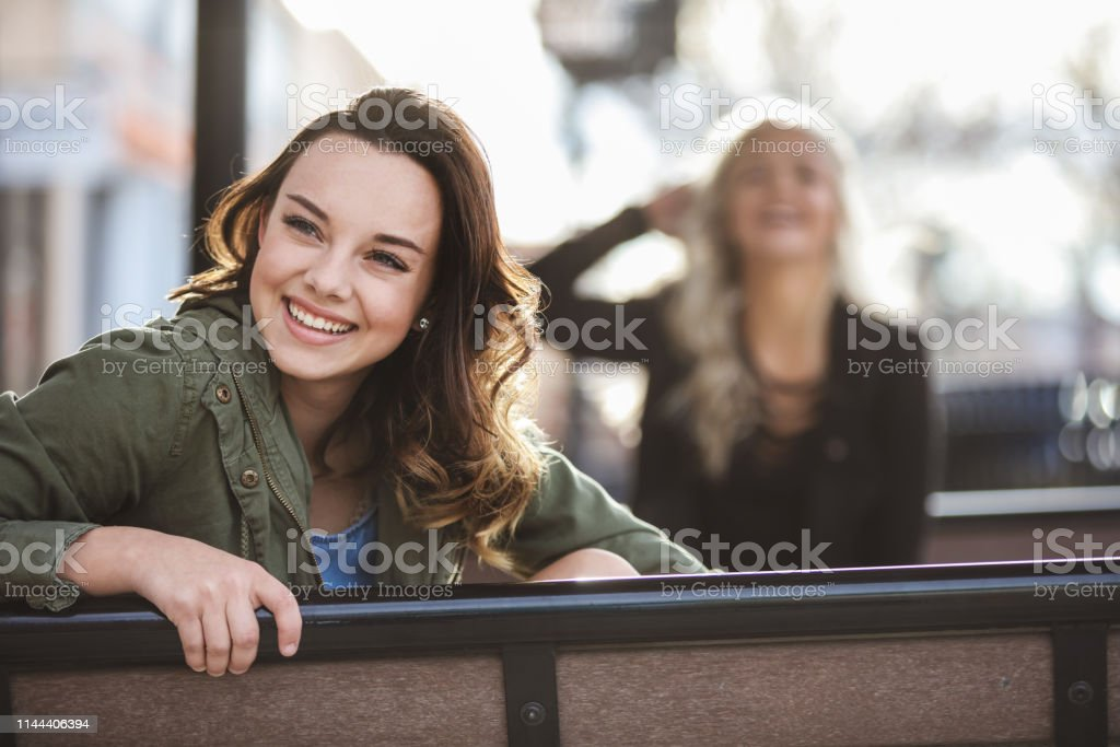Female Active and Attractive College Student Friends Urban Downtown...