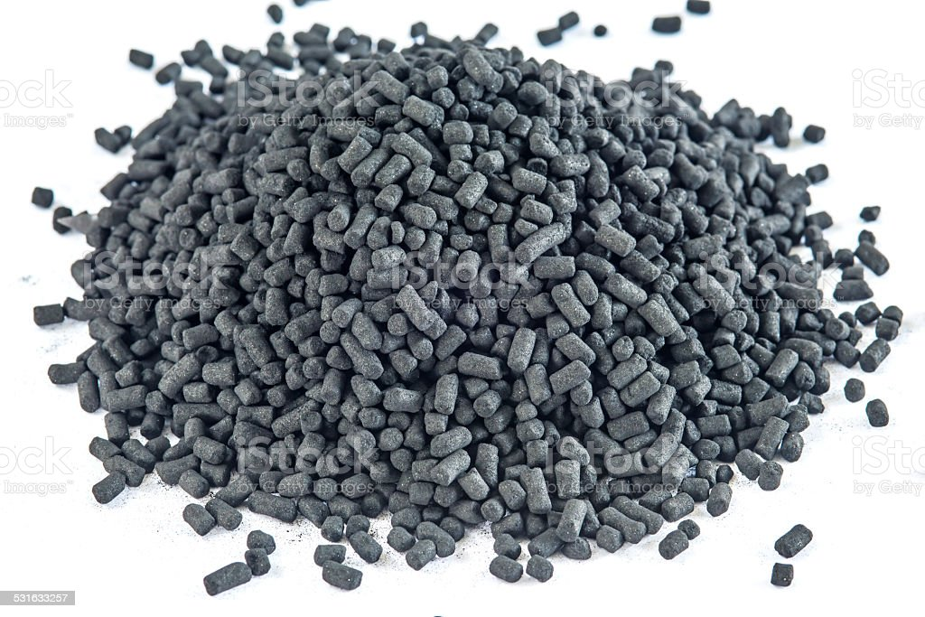 Active coal for filters stock photo