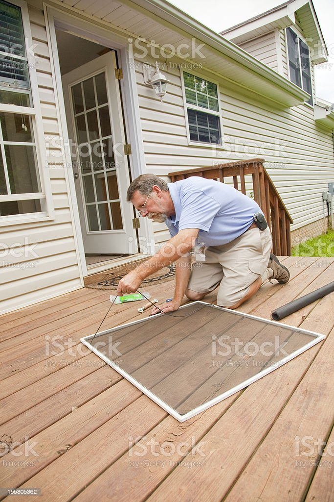 Active Contractor Doing Repairs royalty-free stock photo