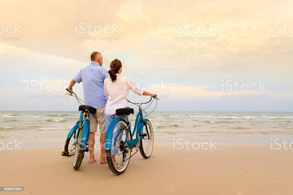 Active couple with bikes stock photo