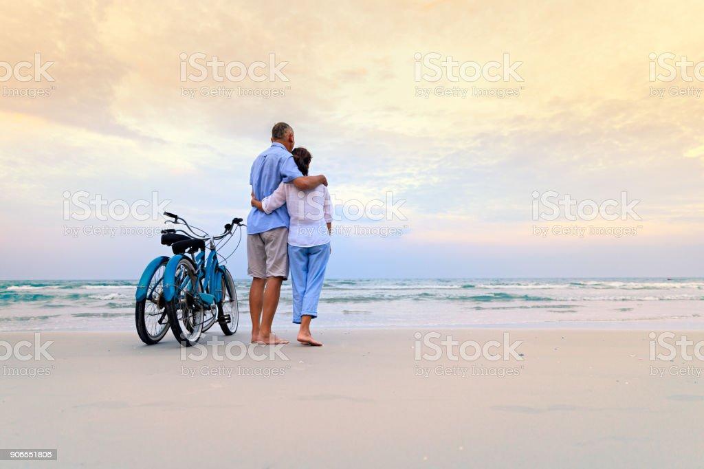 Active couple with bikes stock photo