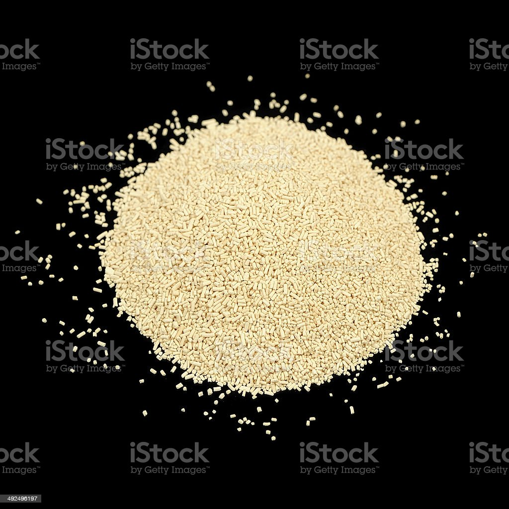 Active Dry Yeast on Black Background stock photo