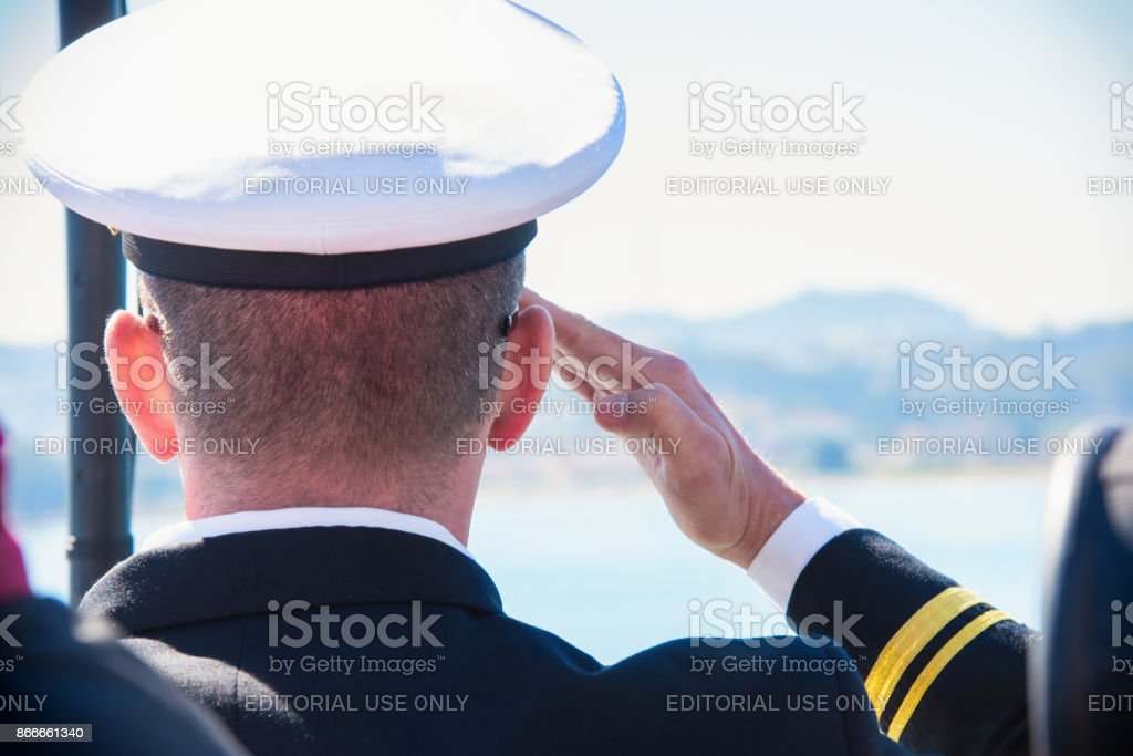 Active Duty U.S. Naval Officer Saluting stock photo